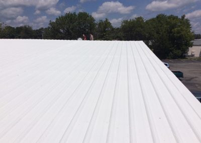 white metal flat roof