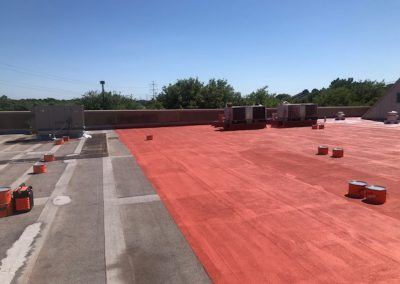 Commercial roof receiving a new coating